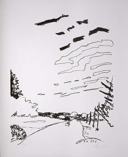 Robert Dash ,   Country Road  ,  1982     Single color stone lithograph with crayon ,  27 x 22 in. (68.6 x 55.9 cm)     DAS-00001