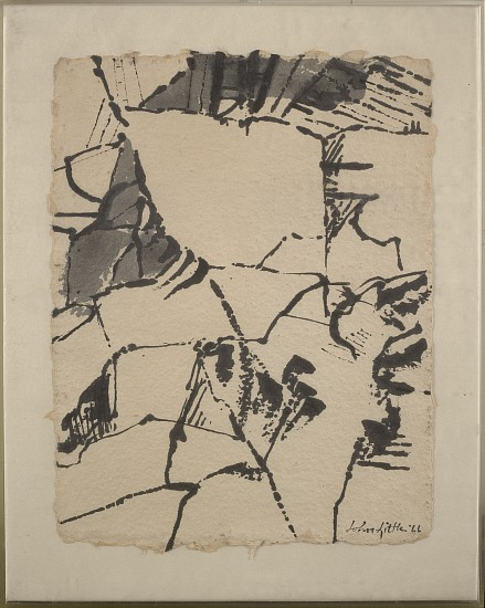 John Little ,   Untitled  ,  1966     Ink and wash on heavily textured paper ,  11 1/4 x 8 3/4 in. (28.6 x 22.2 cm)     LIT-00002