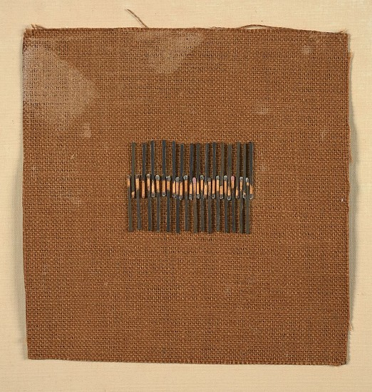 Anita Gibson ,   Untitled | SOLD      Paint and matchsticks on burlap ,  10 x 9 3/4 in. (25.4 x 24.8 cm)     GIB-00002