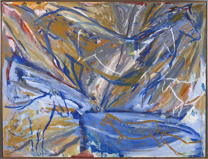Elaine de Kooning ,   Six Horses: Blue Wall | SOLD  ,  1987     Acrylic on canvas ,  46 x 60 in.         Susan Vecsey  on Elaine de Kooning:   I love how this painting reveals itself more and more as you spend time with it.  There are images within images, stillness and movement.  And the image is so contained, horses and fragments of horses pushing against the edges of the painting.