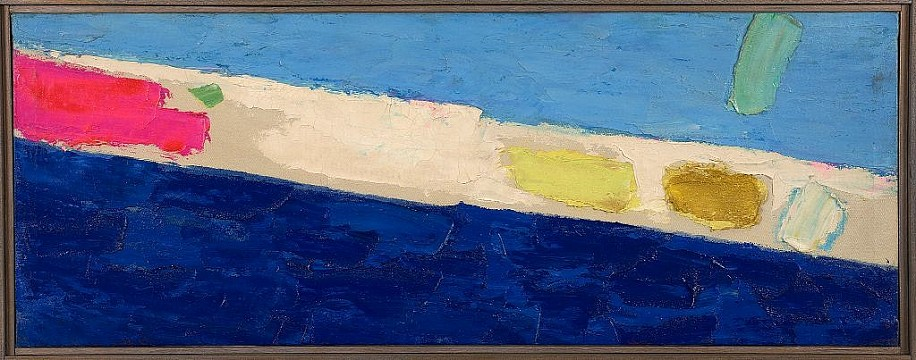 Herman Cherry ,   Blue Painting  ,  1956     Oil on canvas ,  11 x 29 in.         Frank Wimberley  on Herman Cherry:   This is an artist I met back in the '80s whose color sense easily caught my eye and quickly became one of my favorite painters not only because of his ease at putting his compositions together, but also doing so with an originality which was his own. I had a great opportunity to chat with him and Kenneth Noland and Kenneth's brother, Neil, in the corner of a small after-party when Herman was featured in a fantastic show at Staller Gallery in Stony Brook. I only wish that I had gotten to know his great sense of humor and his willingness to share painting tips sooner. He was one of the East End artists who wished to me to succeed.