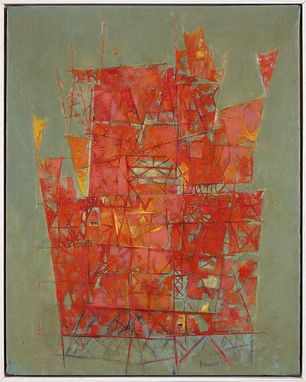 Meyers Rohowsky ,   Orange Structures  ,  C. 1955     Oil on canvas ,  30 x 24 in. (76.2 x 61 cm)     ROH-00004