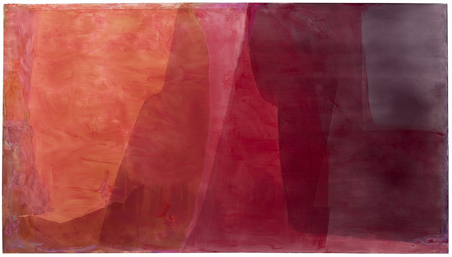 Jill Nathanson ,   Octaves Red  ,  2020     Acrylic and polymers with oil on panel ,  49 1/2 x 89 in. (125.7 x 226.1 cm)     NAT-00127