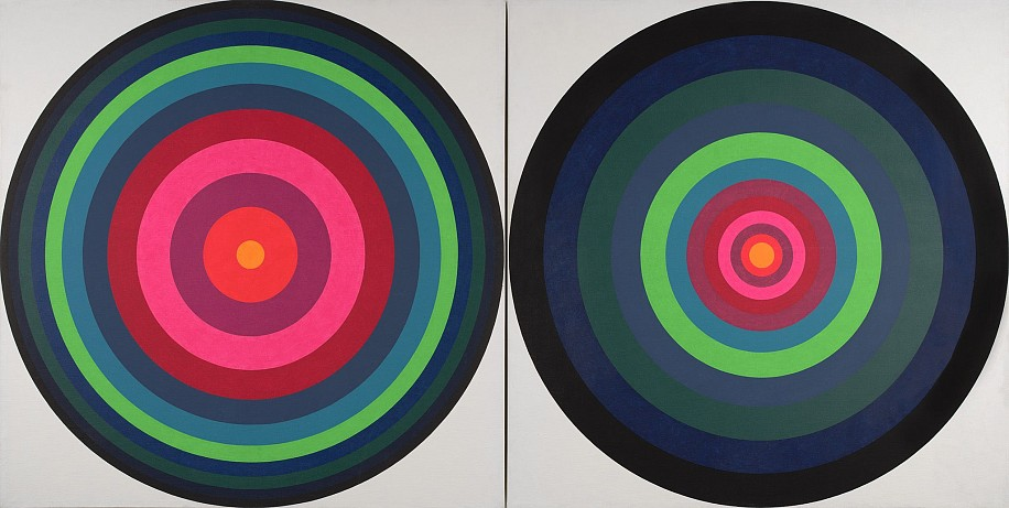 Mary Dill Henry ,   On/Off #8a + 8b  ,  1967     DayGlo acrylic and acrylic on canvas ,  60 x 120 in. (152.4 x 304.8 cm)     MHEN-00067